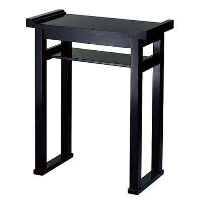 組立式背高経机 棚付(焼香机)黒塗 2尺 巾60cm