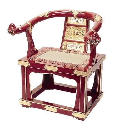 本曲録(椅子式)朱塗り 金具埋め込み式