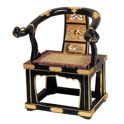 本曲録(椅子式)黒塗り 金具埋め込み式