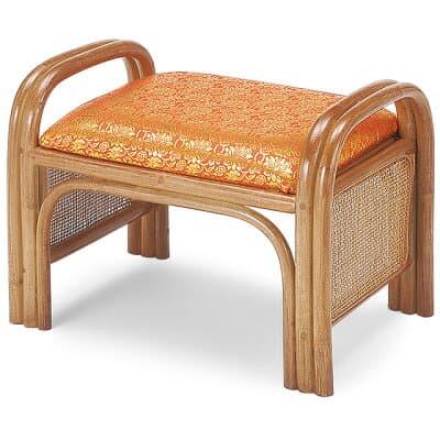 仏前金襴座椅子(籐製) 朱金襴