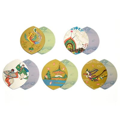 散華(散花)五種柄片面金銀刷(100枚セット)