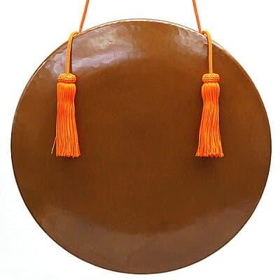 銅鑼 上等品 正絹朱色房紐付き 9寸