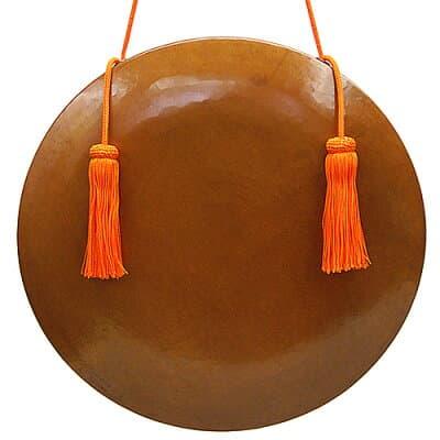 銅鑼 本手打ち極上品 正絹朱色房紐付き 9寸