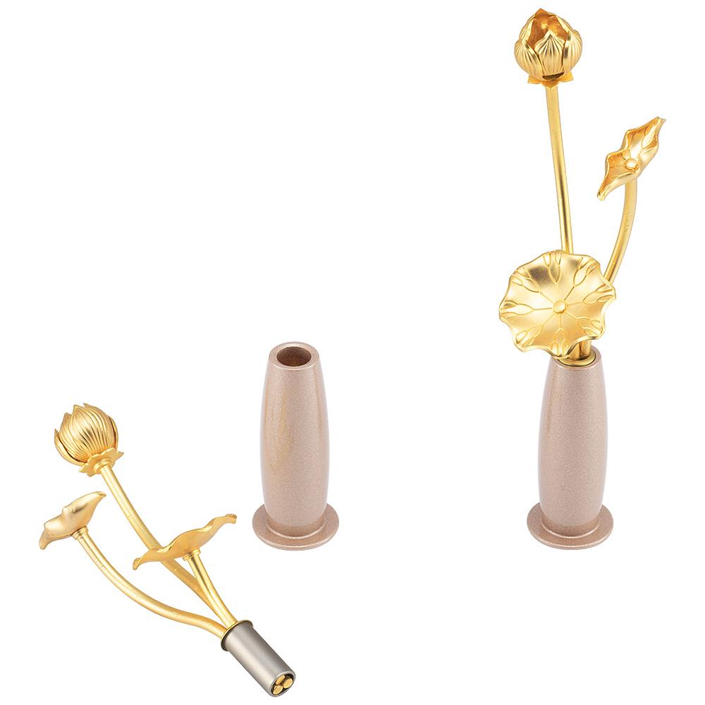 ミニ常花 三本立 華瓶(けびょう)付 11cm ピンクゴールド(一対)