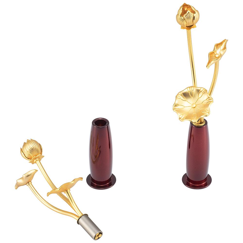 ミニ常花 三本立 華瓶(けびょう)付 11cm ワイン(一対)
