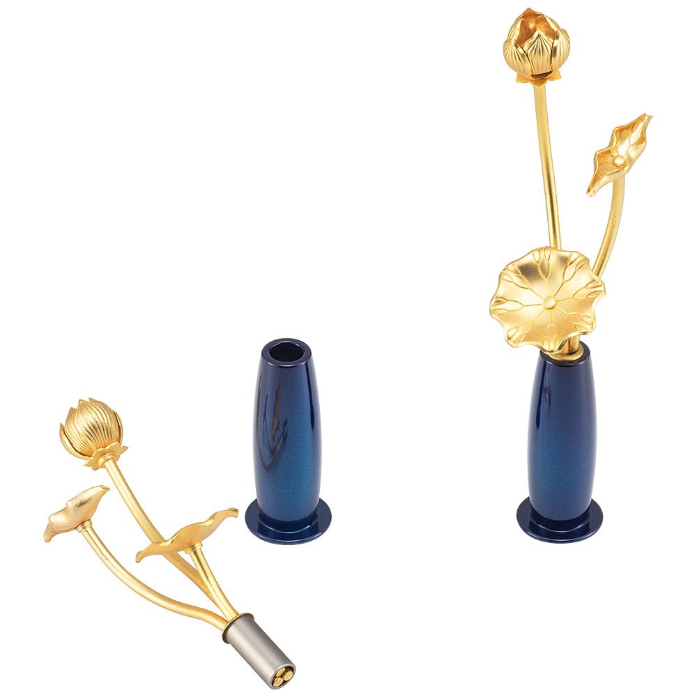 ミニ常花 三本立 華瓶(けびょう)付 11cm 紺色(一対)