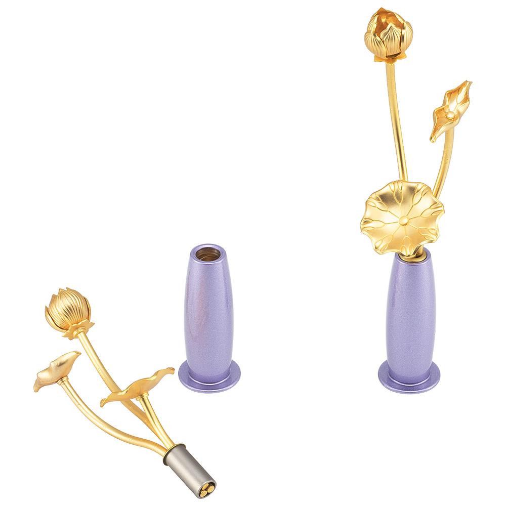 ミニ常花 三本立 華瓶(けびょう)付 11cm 藤紫色(一対)