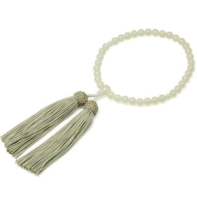 女性用数珠 グリーンオニキス 正絹頭付房