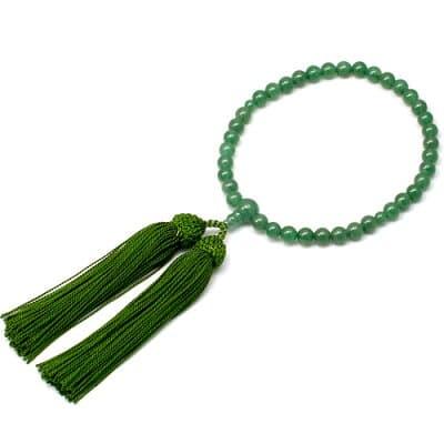 女性用数珠 インドヒスイ 正絹頭付房