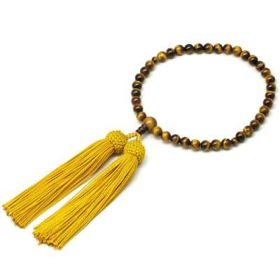 女性用数珠 虎目石 正絹頭付房