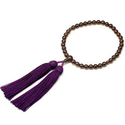 女性用数珠 茶水晶 正絹頭付房