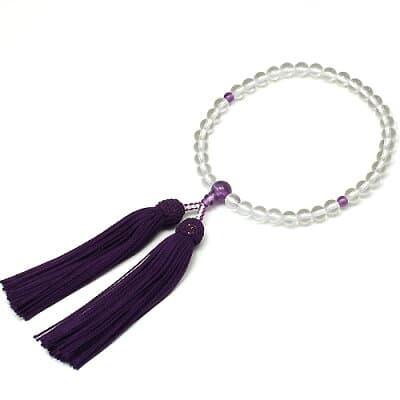 女性用数珠 水晶 紫水晶仕立 正絹頭付房