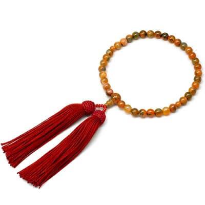 女性用数珠 赤苔メノー 正絹頭付房