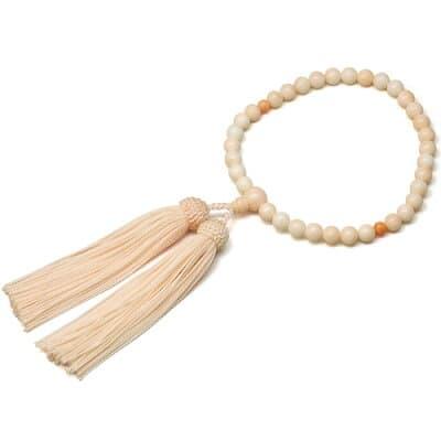 女性用数珠 ピンクサンゴ 正絹頭付房