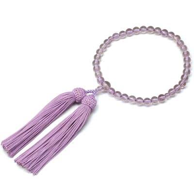 女性用数珠 ローズアメジスト 正絹頭付房