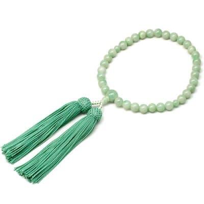 女性用数珠 ビルマ翡翠 正絹頭付房