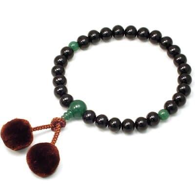 男性用数珠 黒檀 インドヒスイ仕立 27玉