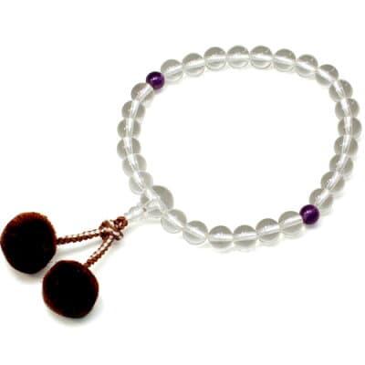 男性用数珠 水晶 紫水晶二天 27玉