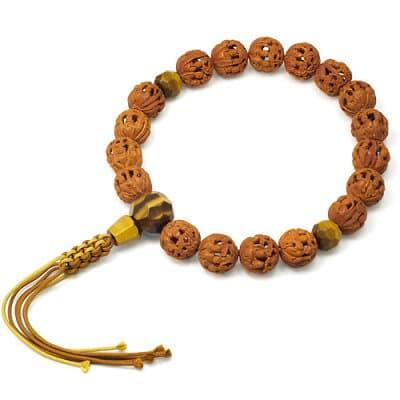 男性用数珠 羅漢彫 虎目石切子仕立 18玉