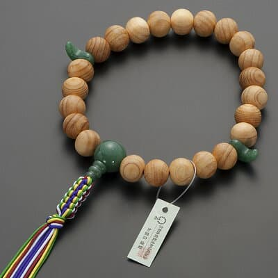 神道用数珠【男性用】桧(ひのき)インドヒスイ仕立 2天勾玉 23玉 正絹紐房