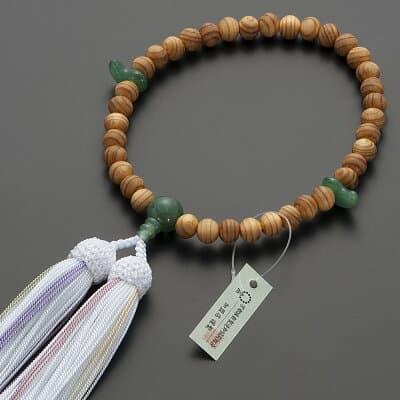 神道用数珠【女性用】桧(ひのき)インドヒスイ仕立 2天勾玉 8mm玉 正絹頭付房