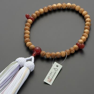 神道用数珠【女性用】桧(ひのき)瑪瑙(メノウ)仕立 2天勾玉 8mm玉 正絹頭付房