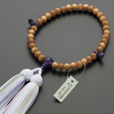 神道用数珠【女性用】桧(ひのき)紫水晶仕立 2天勾玉 8mm玉 正絹頭付房
