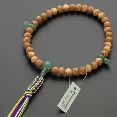 神道用数珠【女性用】桧(ひのき)インドヒスイ仕立 2天勾玉 8mm玉 正絹紐房