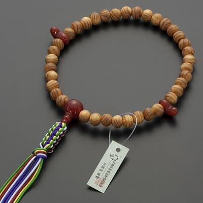 神道用数珠【女性用】桧(ひのき)瑪瑙(メノウ)仕立 2天勾玉 8mm玉 正絹紐房