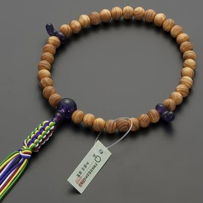 神道用数珠【女性用】桧(ひのき)紫水晶仕立 2天勾玉 8mm玉 正絹紐房