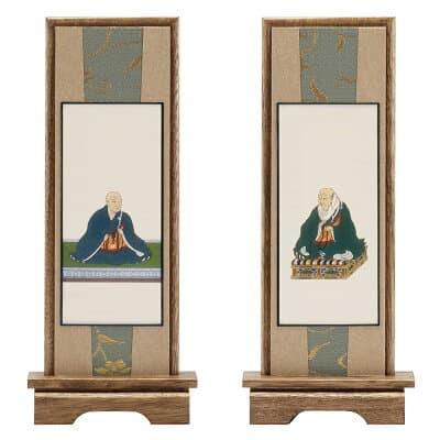 スタンド掛軸 浄土真宗本願寺派の脇掛 親鸞聖人・蓮如上人 小 高さ20.5cm