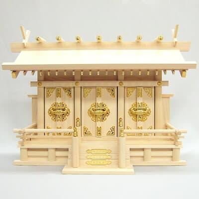 神棚・通し屋根三社(小) 高さ38cm×巾55cm