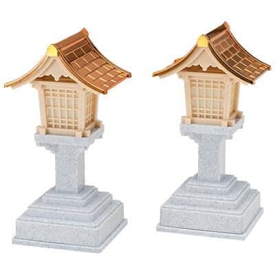 春日灯篭(銅屋根)コードレス(一対) 高さ15.5cm