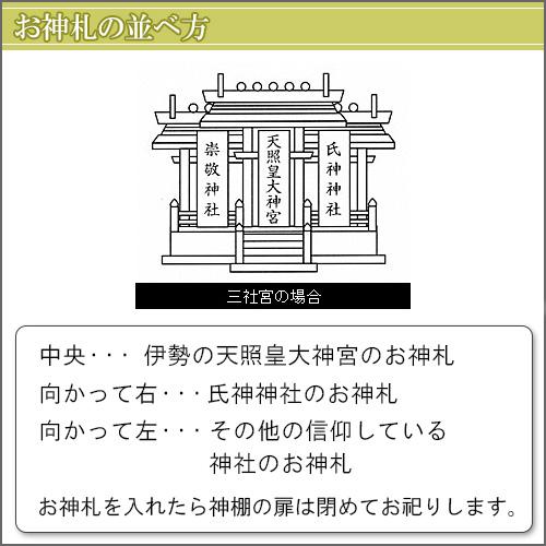 神棚・唐戸通し屋根三社(小)