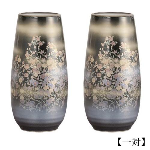 仏壇用花瓶・お盆用花瓶 茜九谷焼 かすみ草 (一対) 8号
