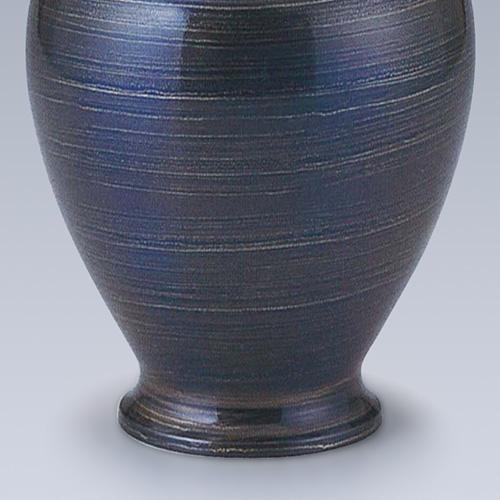 仏壇用花瓶・お盆用花瓶 銅製 住吉 スパイラルブルー色 (一対) 7号
