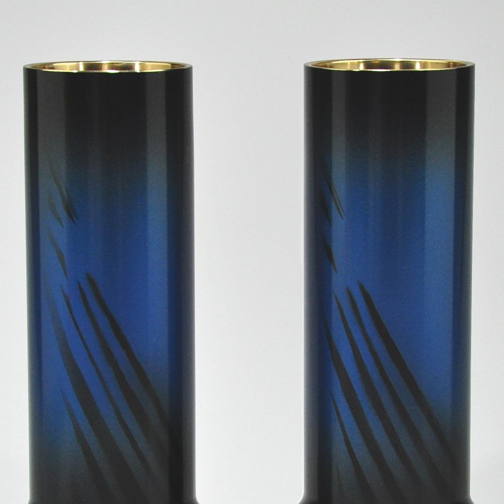 仏壇用花瓶・お盆用花瓶 銅製 細竹型 オーロラブルー色 (一対) 7.5号