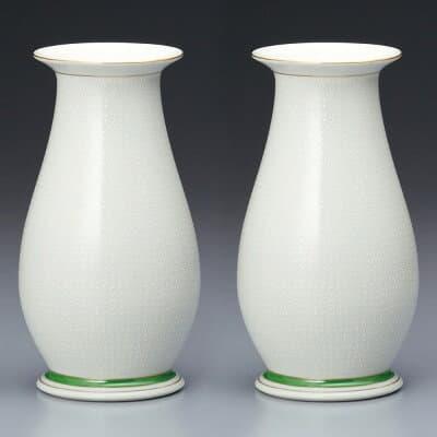 仏壇用花瓶・お盆用花瓶 九谷焼 白七宝 (一対) 6号