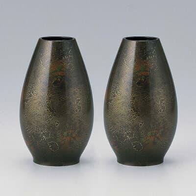 仏壇用花瓶・お盆用花瓶 銅製 華 (一対) 6号