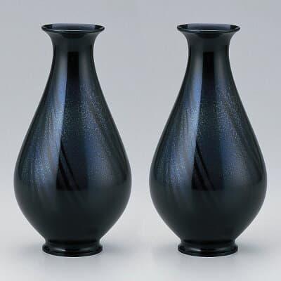 仏壇用花瓶・お盆用花瓶 銅製 細達磨 天目色 (一対) 8号