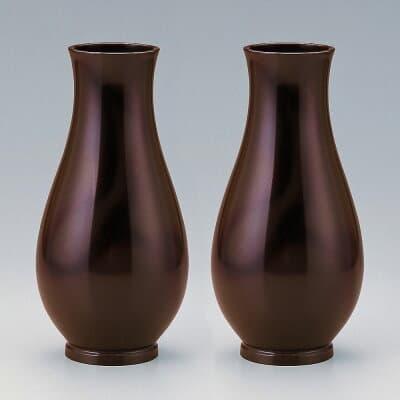 仏壇用花瓶・お盆用花瓶 銅製 細達磨 本ムラ朱銅色 (一対) 9.5号