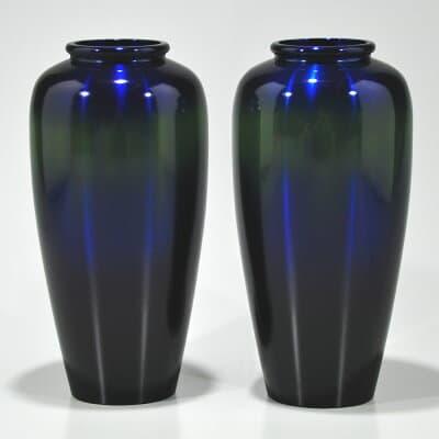 仏壇用花瓶・お盆用花瓶 銅製 宮内型 コスモブルー色 (一対) 7号
