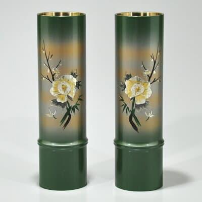 仏壇用花瓶・お盆用花瓶 銅製 細竹型 牡丹四君子彫金入り (一対) 7.5号