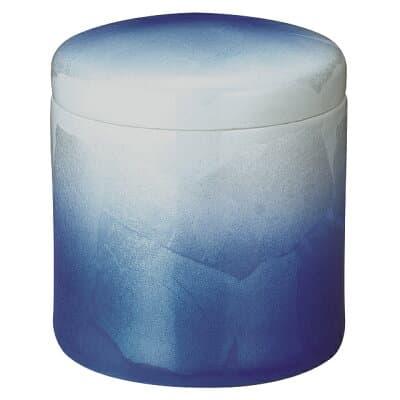 骨壷(骨壺) 九谷焼 銀彩 ブルー