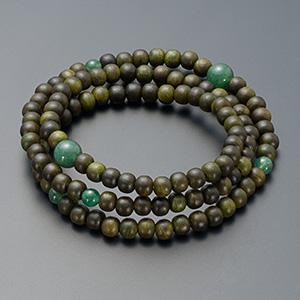 特選腕輪念珠◆108珠 3重 緑檀(生命樹) インド翡翠仕立 本式数珠ブレスレット
