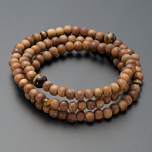 特選腕輪念珠◆108珠 3重 白檀 虎目石仕立 本式数珠ブレスレット
