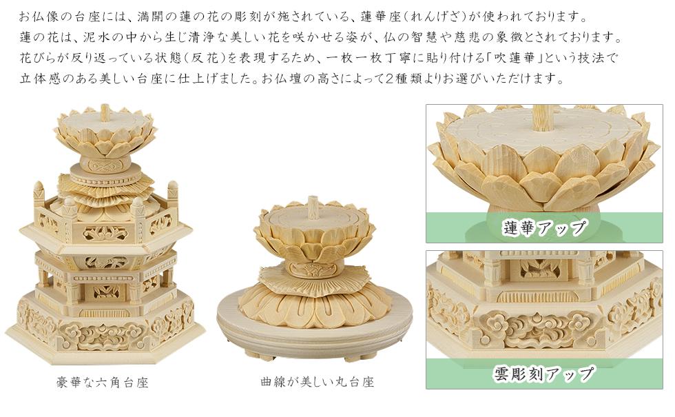 お仏像の台座には、満開の蓮の花の彫刻が施されている、蓮華座(れんげざ)が使われております。蓮の花は、泥水の中から生じ清浄な美しい花を咲かせる姿が、仏の智慧や慈悲の象徴とされております。花びらが反り返っている状態(反花)を表現するため、一枚一枚丁寧に貼り付ける「吹蓮華」という技法で立体感のある美しい台座に仕上げました。お仏壇の高さによって2種類よりお選びいただけます。