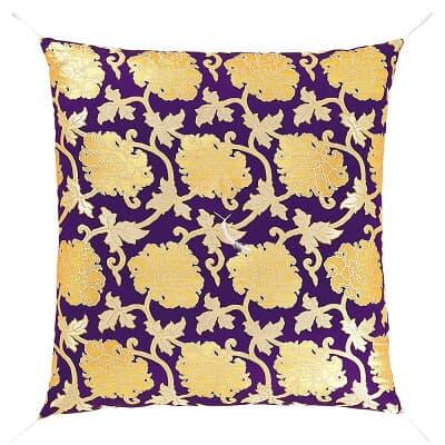 御前座布団 正絹牡丹 紫