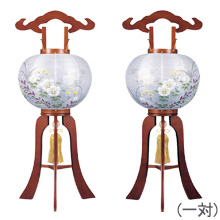 小型対柄盆提灯9号(一対)1215-W