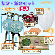 初盆・新盆セット 回転行灯(一対タイプ)7点セット 8-A